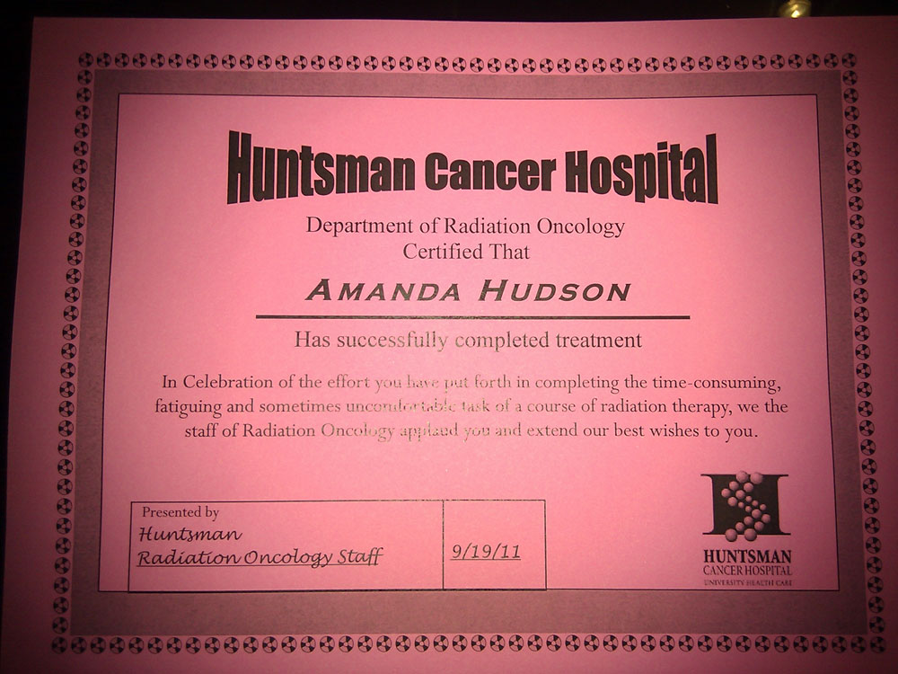 Radiation Completion Certification Darn Good Lemonade