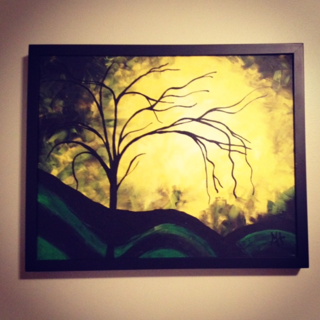 I painted this while after my lung CT. My husband feels like it was indicative of my mood.